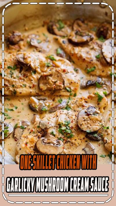 Another one skillet chicken recipe! This easy chicken dinner is made with sautéed garlic and mushrooms and topped with a creamy sauce.