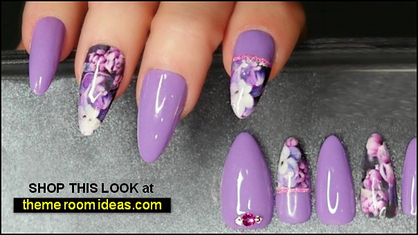 Lavender Floral Nails Swarovski Crystal Nail Set Glossy Purple Nails Jewel False Nails Pastel Purple Press on Lavender Nails with Swarovski
