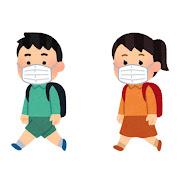 マスクを付けて歩く学生のイラスト(小学生)