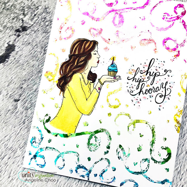 ScrappyScrappy: Happy 2020 & Angela's Birthday Bash with Unity Stamp - Hip Hip Hooray #scrappyscrappy #unitystampco #cardmaking #card #stamping #youtube #quicktipvideo #birthdaybash #happy2020 #hiphiphooray #birthdaycard #decofoil #rainbowshatteredglass #decofoiladhesivepen #copicmarkers #confettibackground