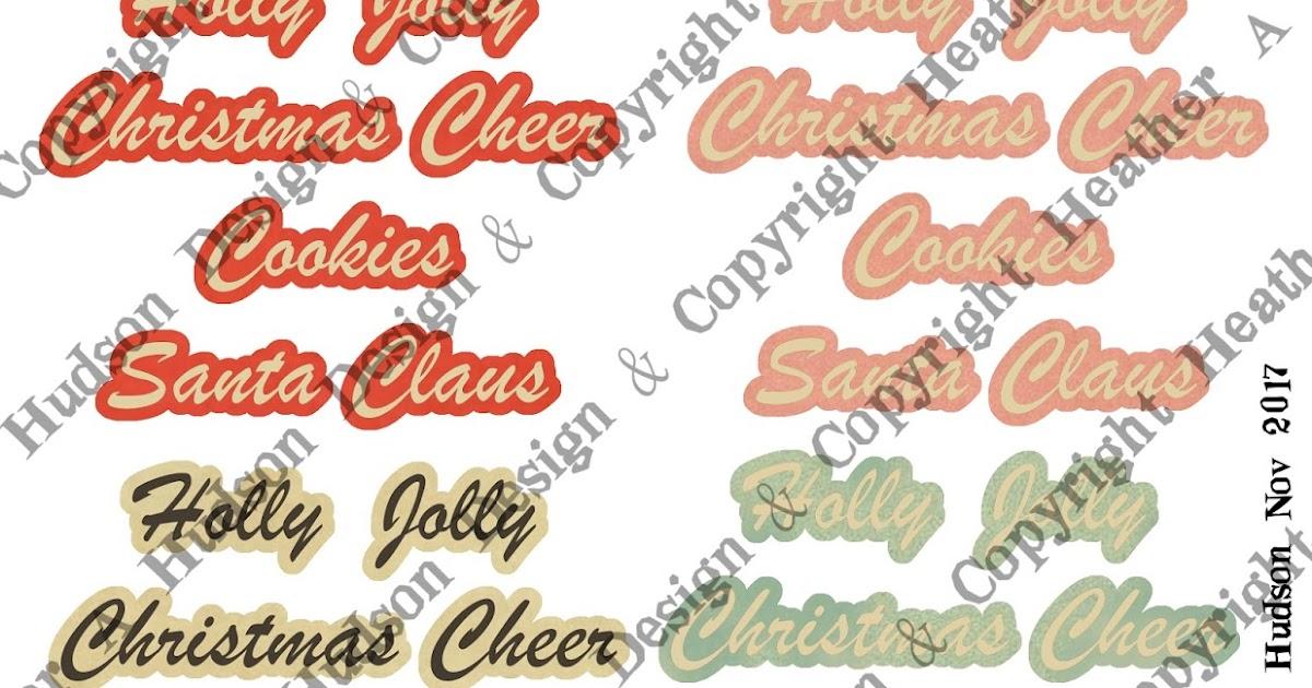 heather a hudson retro christmas words digital collage sheet