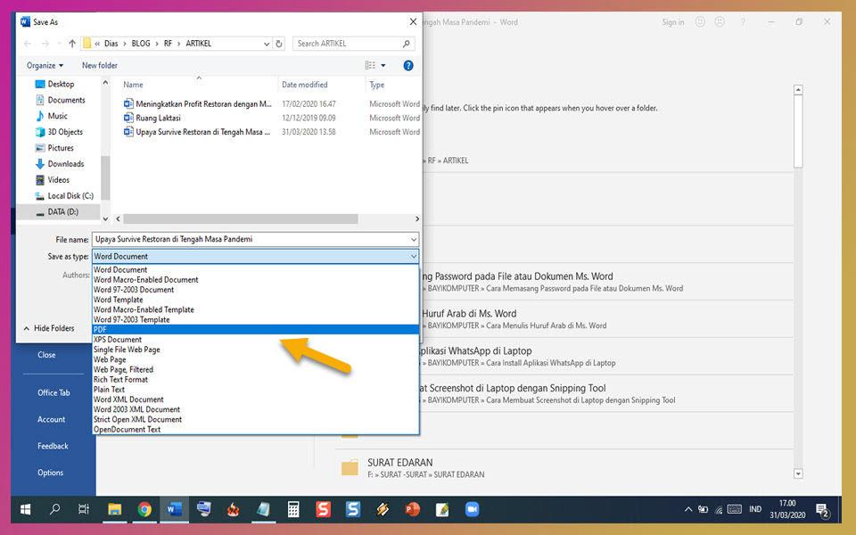 Cara Membuat File Pdf Di Microsoft Word Dan Mengubah Atau Convert File Pdf Ke Word Tanpa Aplikasi Tambahan Bayi Komputer