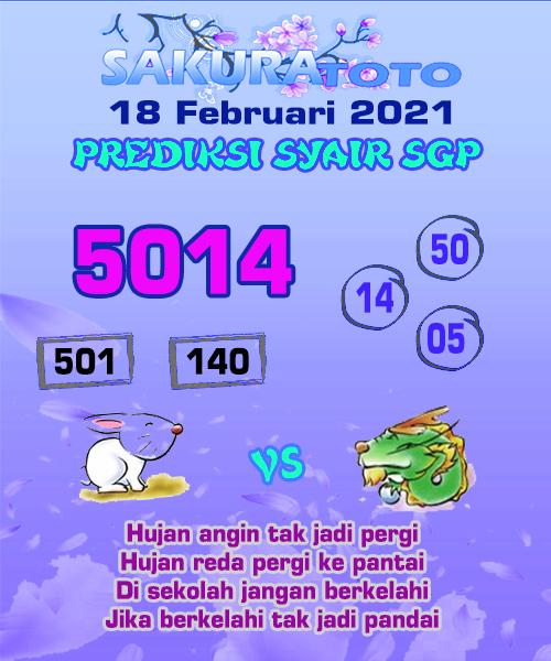 Syair Sakuratoto SGP Kamis, 18 Februari 2021.