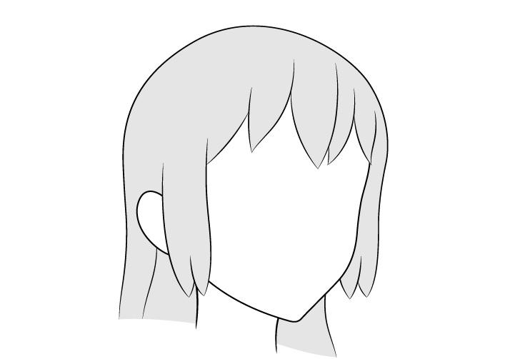 Anime rambut panjang 3/4 gambar tampilan