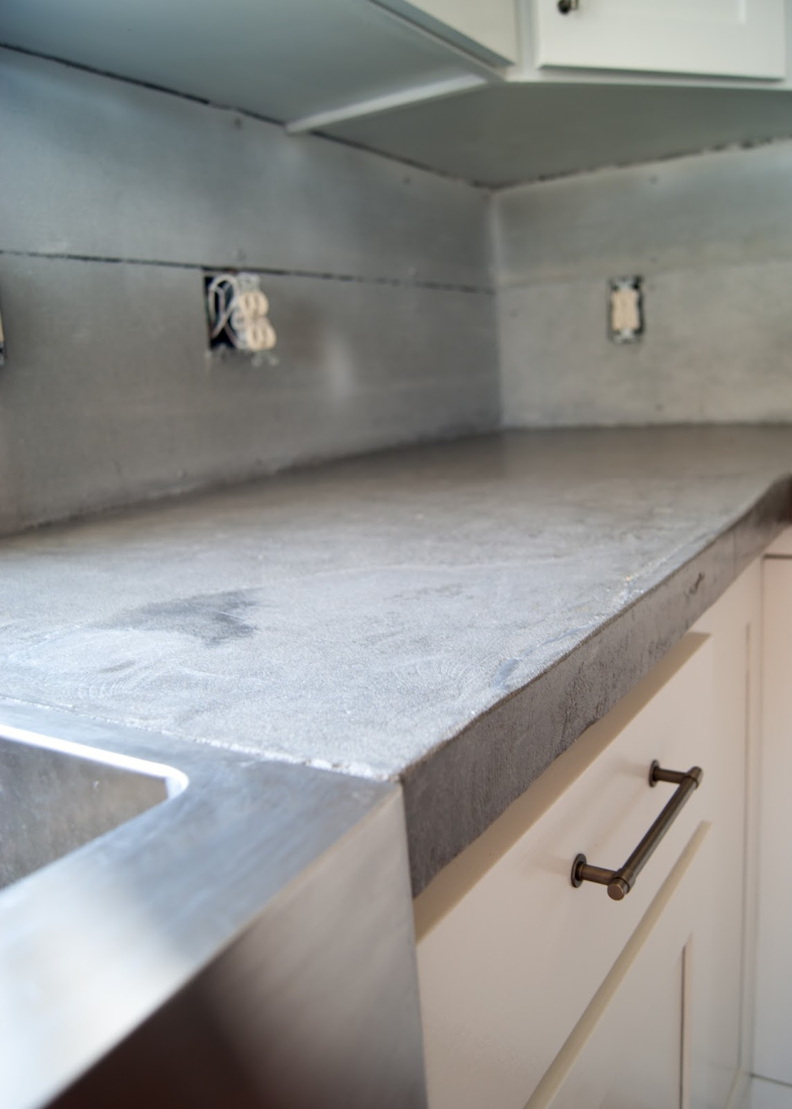 Concrete Counters Poured Right Up To Stainless Steel A Front Sink