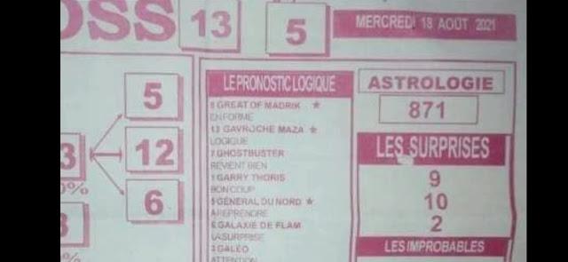 Pronostics quinté pmu mercredi Paris-Turf TV-100 % 18/08/2021