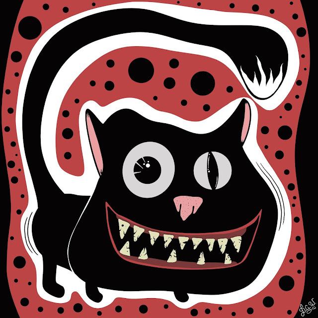 funny cat art bad teeth blackcat