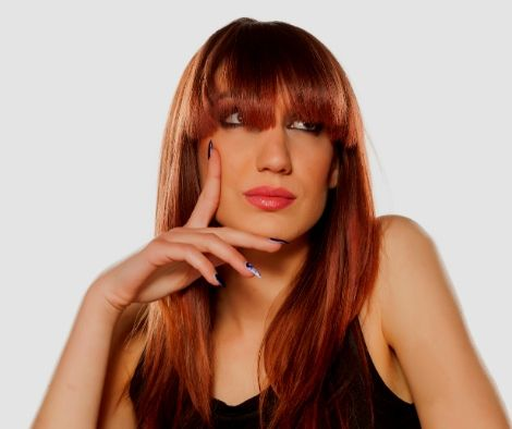 Red hair Bangs -Girls With Bangs Hairstyle