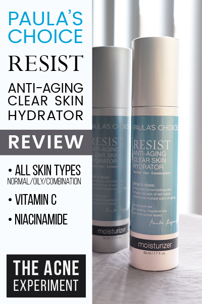 Paula's Choice RESIST Anti-Aging Clear Skin Hydrator Review - The Acne Experiment