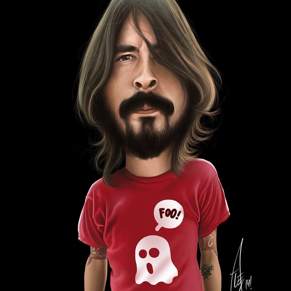 Caricatura de Dave Grohl por Alex Gallego