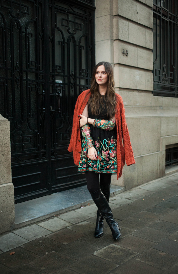 Outfit: floral embroidery dress, knee high boots
