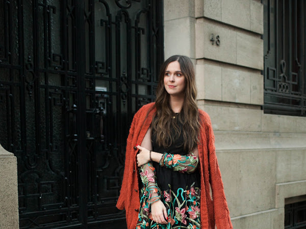 Outfit: floral embroidery dress, oversized knit