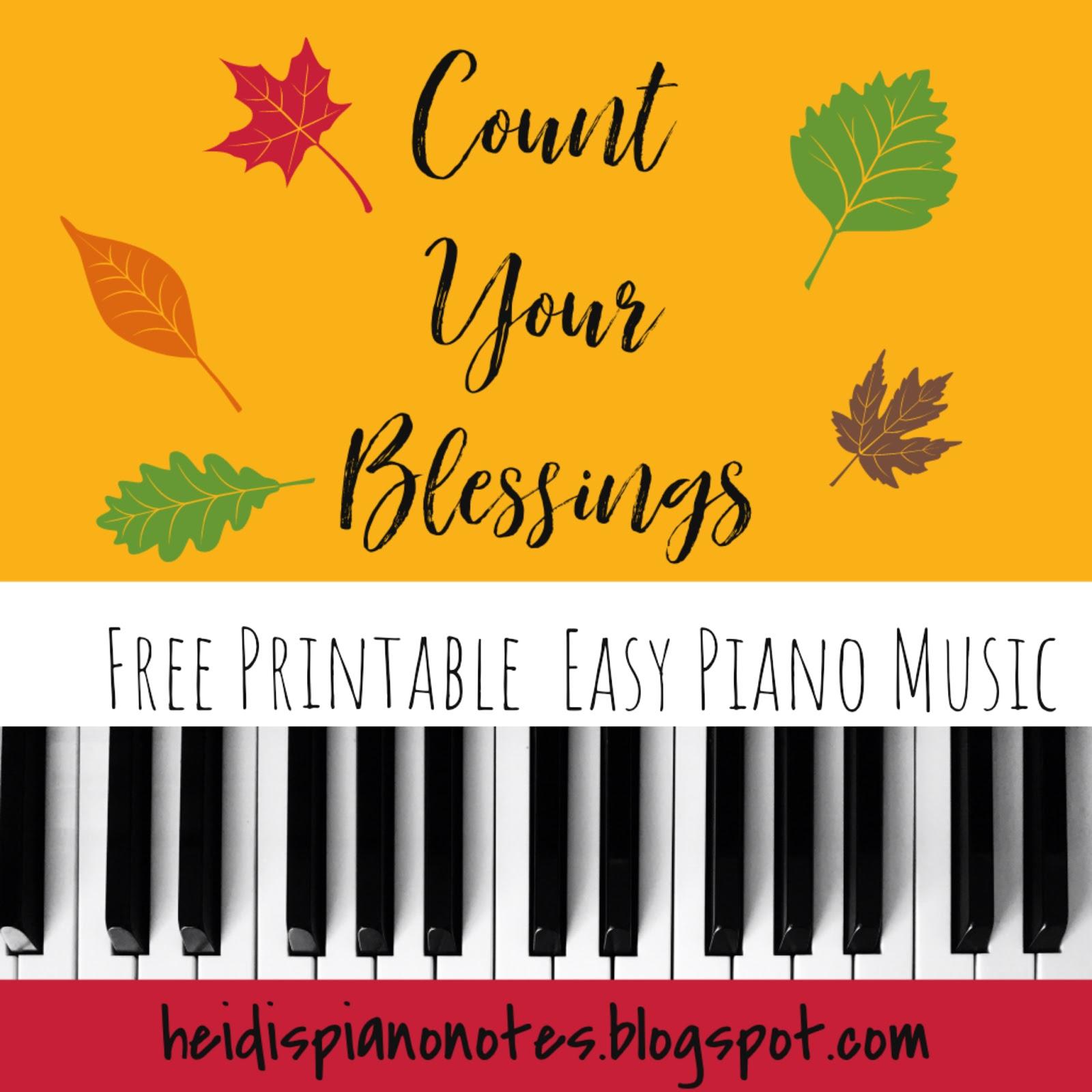 Heidi S Piano Studio Count Your Blessings Free Printable