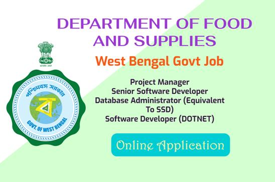 Various Post Recruitment under West Bengal Department Food and Supplies.