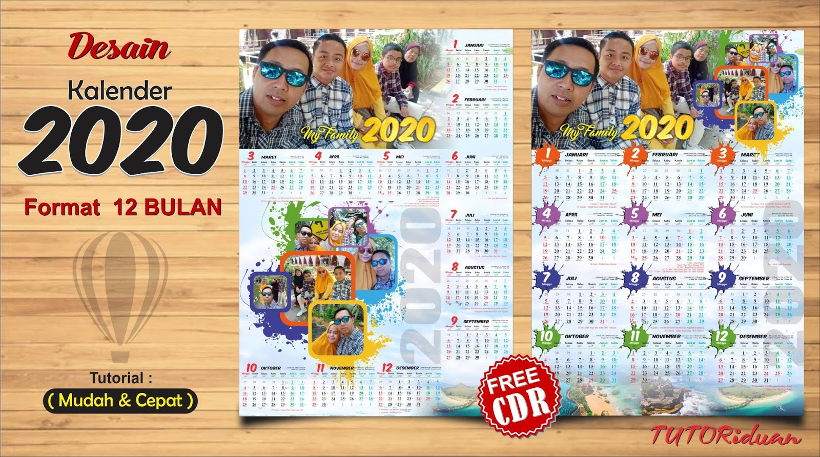 Desain Kalender Dinding 2020 Format 12 Bulan dengan ...