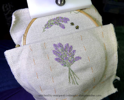 Complete front and inside back of Lorna Bateman Lavender and Bees Scissors Keeper