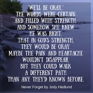 Miss Pippi Reads quote from Never Forget by Jody Hedlund