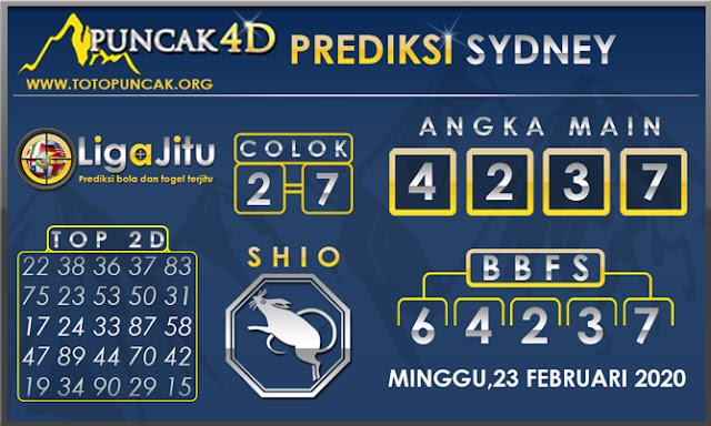 PREDIKSI TOGEL SYDNEY PUNCAK4D 23 FEBRUARI 2020