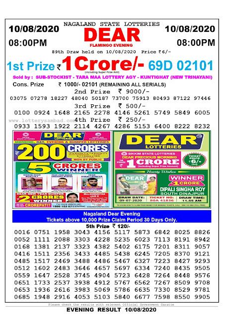Lottery Sambad Result 10.08.2020 Dear Flamingo Evening 8:00 pm