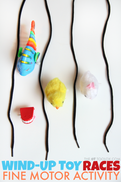 Create a wind-up toy fine motor activity race for kids to work on in-hand manipulation and other fine motor skills
