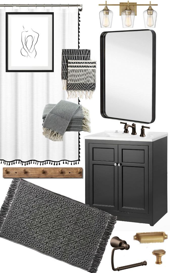 Vintage Modern bathroom moodboard