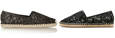 One of these pairs of lace espadrilles is from Valentino for $595 and the other is from Target for $25. Can you guess which is which? Click the links below to see if you are correct!