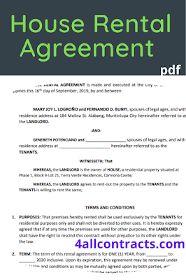House rental agreement template