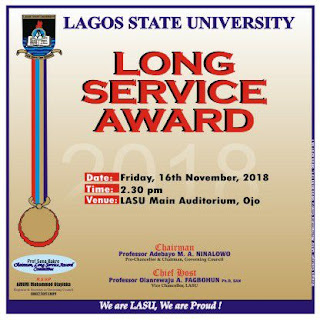 Lagos State University (LASU) Long Service Award Ceremony Date - 2018