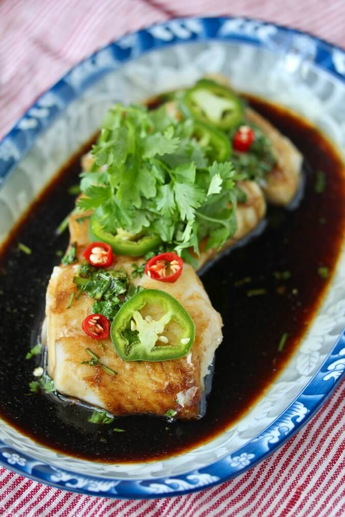 Poached Cod Cantonese-Style with Chiles