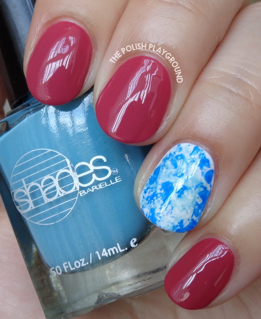 Fall Pink with Blue Saran Wrap Accent Nail Art