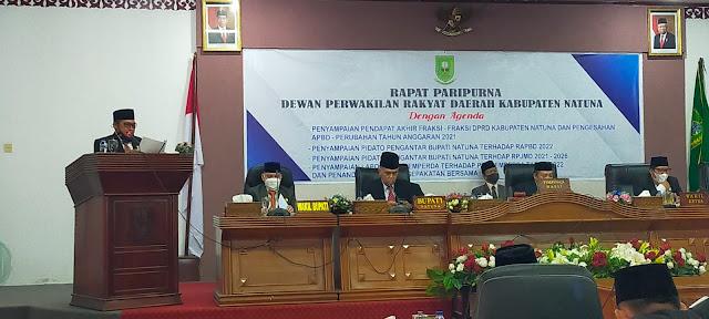 DPRD Natuna Setujui Ranperda APBD Perubahan  TA 2021 Dijadikan Perda