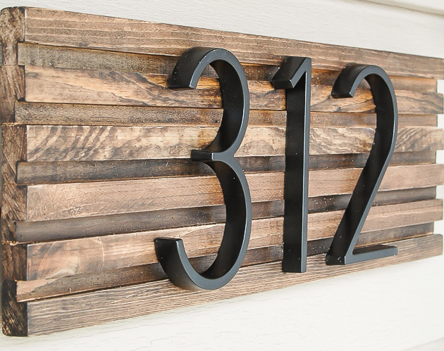 How to make a modern house number sign little house of for Modern house numbers home depot