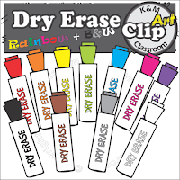 Dry Erase Whiteboard Marker Clip Parts in Rainbow Colors