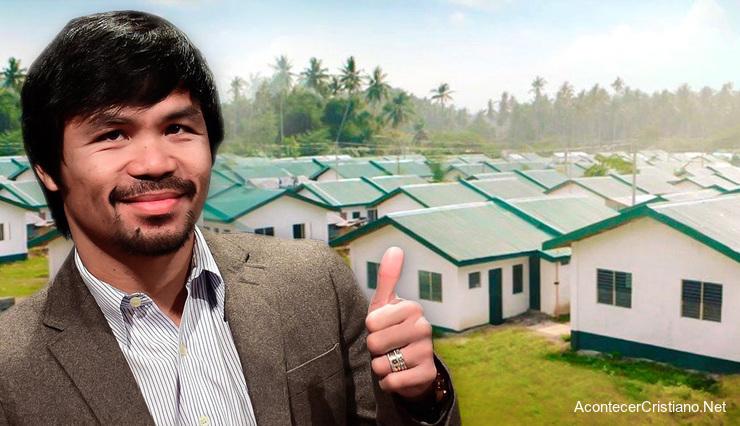 Manny Pacquiao dona 1.000 casas