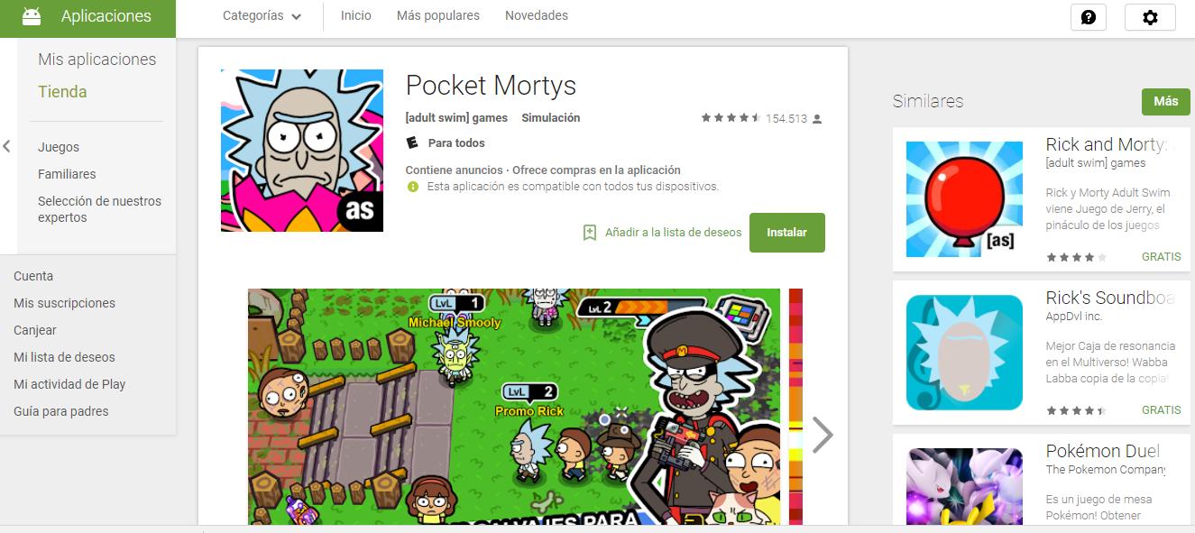 Descargar el Nuevo Juego Pocket Mortys 2.4.3 APK Para Android