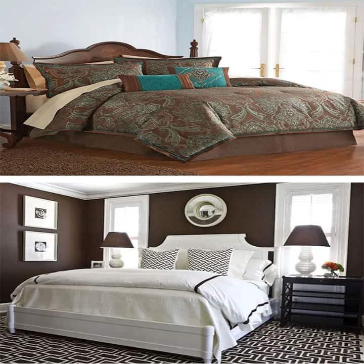 غرفة نوم باللون الأبيض مع البني
