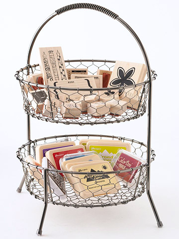 Wire basket for craft stamps