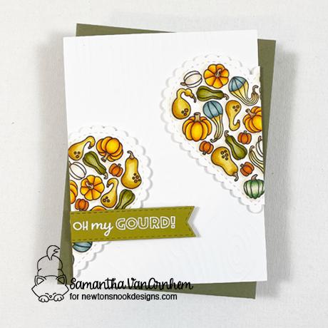 Oh my Gourd! Fall Card by Samantha VanArnhem | Heartfelt Gourds Stamp Set and Heart Frames Die Set by Newton's Nook Designs #newtonsnook