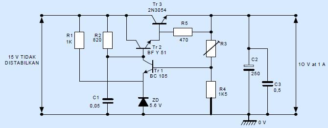 Gambar 6.1: Contoh Rangkaian Regulator Seri Linear