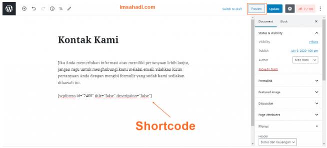 tambahkan shortcode wpforms