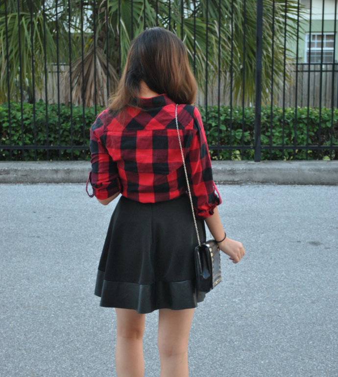 Echoclubhouse, Rebel Plaid Button Up, Zhor Trim Skater Skirt, Studded bag, Pu Skirt, Leather Skirt, PU Leather Skirt, Plaid Shirt