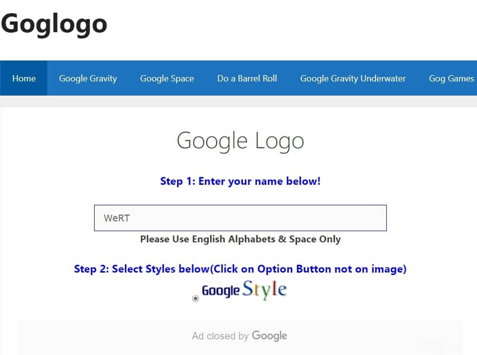 "<img src=""goglogo.jpg"" alt=""goglogo, customize name with google"" title=""goglogo funny google tricks"">"