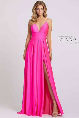 Sweetheart A-line Ieena for Mac Duggal Evening Dress Electric Pink Color
