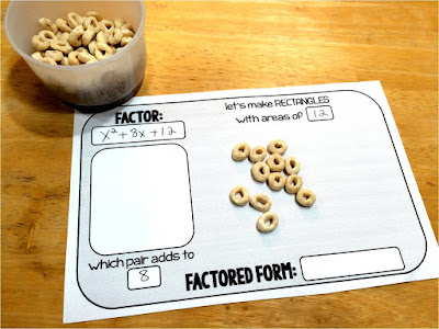 Are you looking for a fun hands-on activity for teaching quadratic trinomial factoring? A factoring activity we did in class using cereal is described in this post as well as links to other fun quadratics activities.