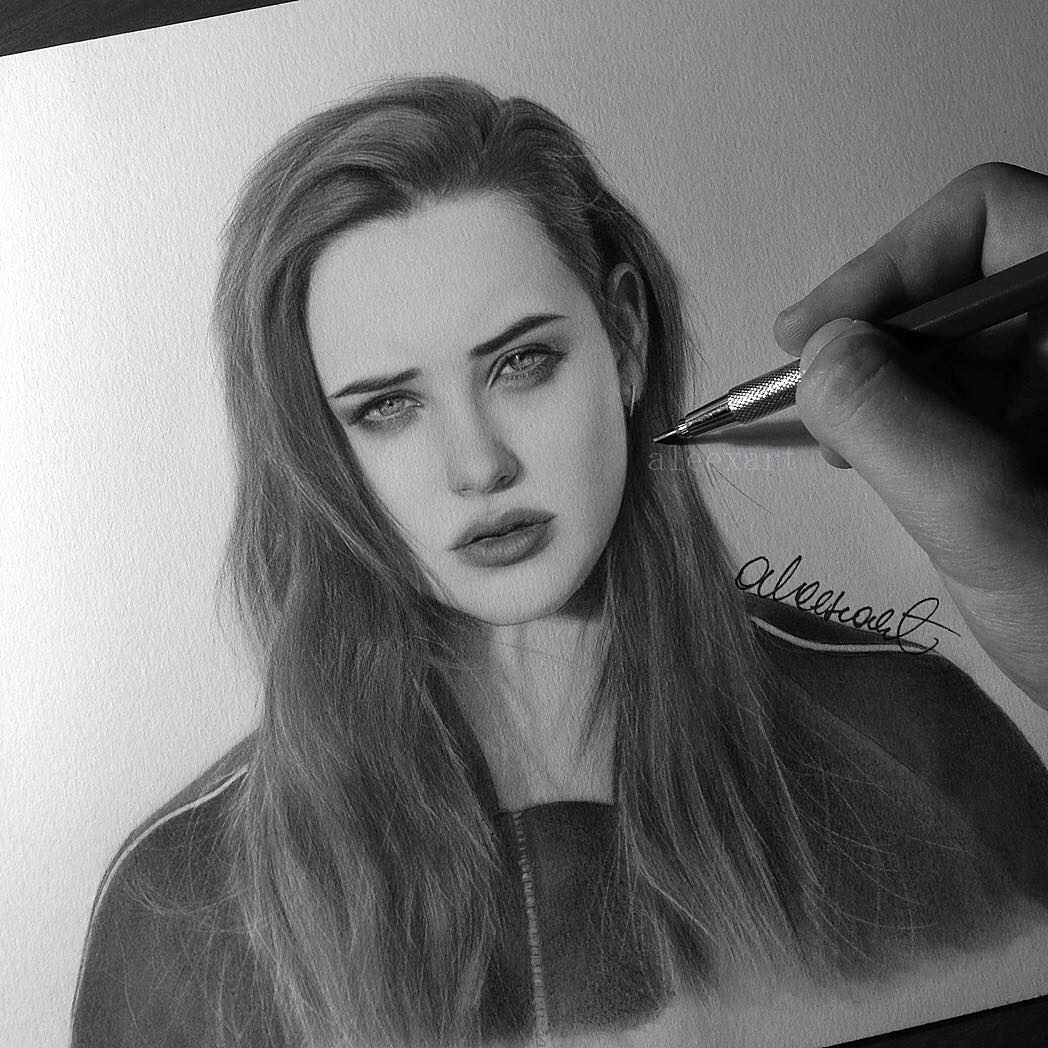 15-Katherine-Langford-Alex-Manole-Black-and-White-Hyper-Realistic-Portraits-of-Celebrities-www-designstack-co
