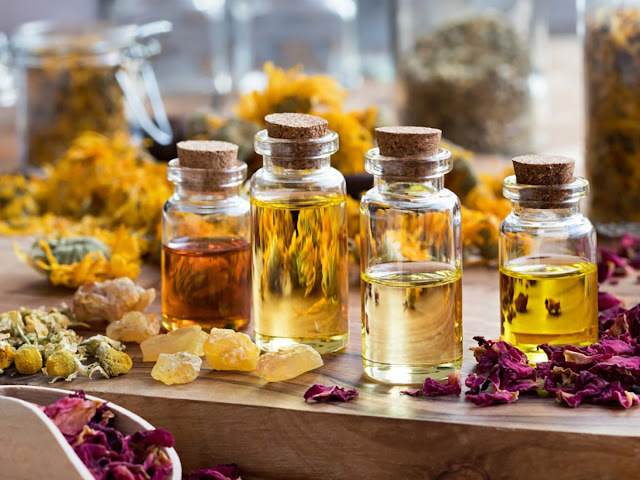 Cork bottles of essential oils