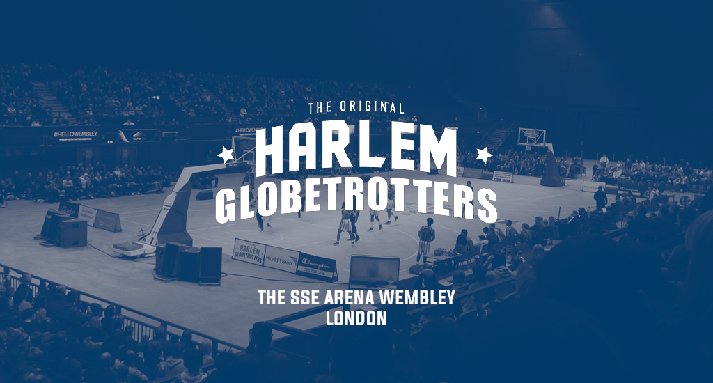 The SSE Arena Wembley and Harlem Globetrotters logo