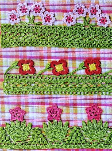 Guardas de jardín florecido tejidas al crochet - con patrones