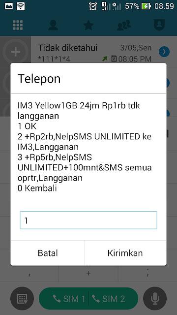 cara paket internet indosat 1gb 1000
