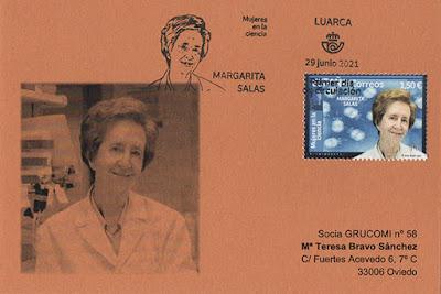 tarjeta, Margarita Salas, sello, matasellos, filatelia